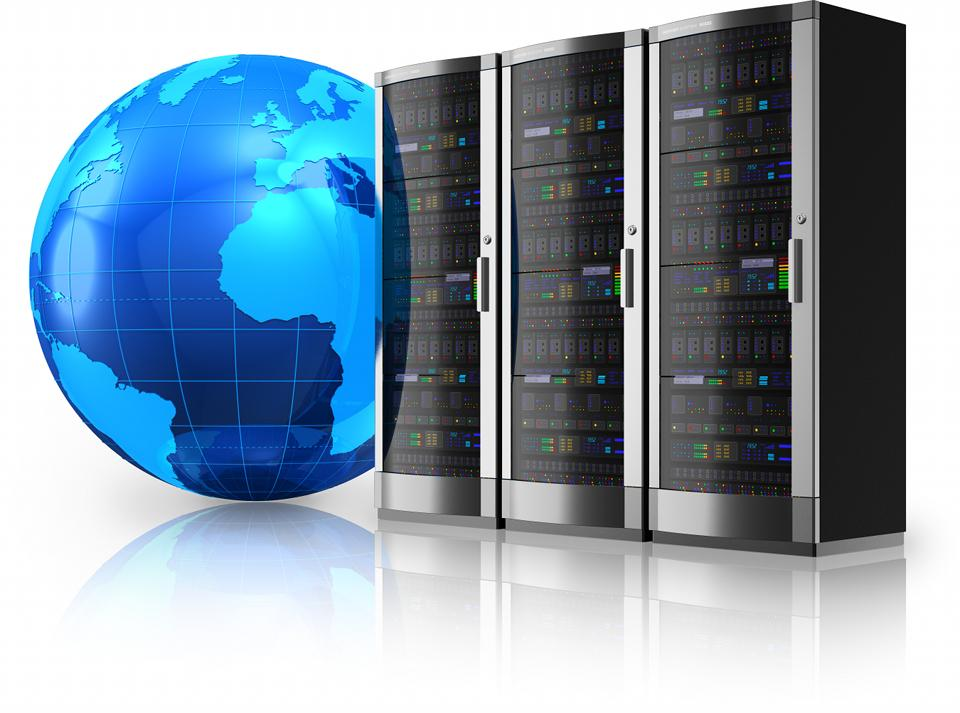 servers with a blue tinted globe