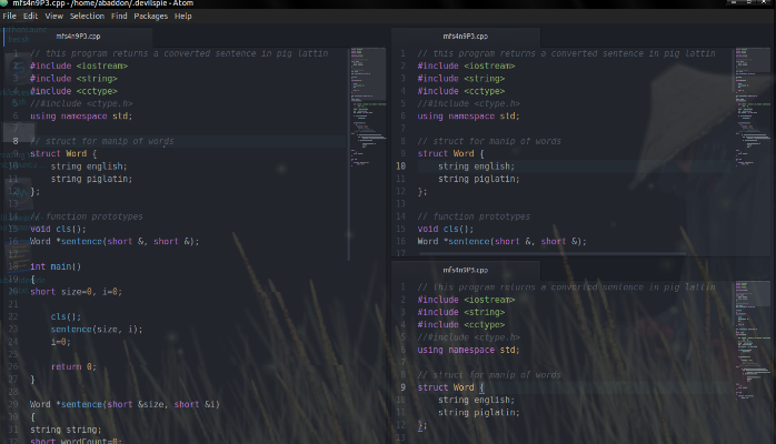 Atom Text Editor With Code