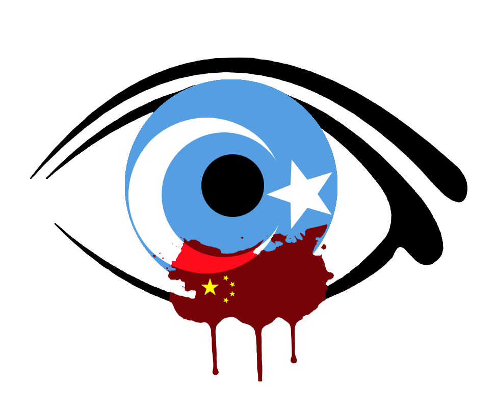 Free Uyghur - Eye Bleeding and China Overlayed